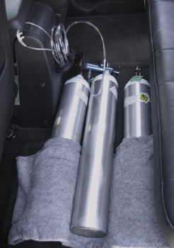 Cylinders safely stored in vehicle