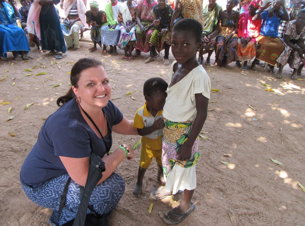 Sandra with local children in Ghana