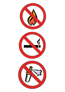 Symbols for No Fires, No Smoking and No Aerosols